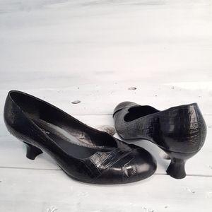 Franco Sarto Genuine Leather Round-Toe Low Heel
